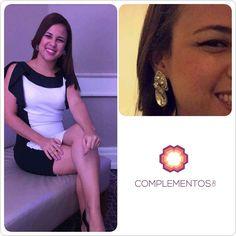 "Happy happy customer @aniuska710  luciendo nuestros aretes de la linea ""Glam Party""  #happycustomer #earrings #crystals #gorgeous #businesswoman #party #accesories #byou #becomplete"