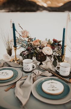 Mountain wedding table inspiration with muted colors, fall weddings, spring weddings, wedding decorations Camp Wedding, Boho Wedding, Rustic Wedding, Dream Wedding, Romantic Wedding Receptions, Romantic Weddings, Spring Weddings, Fall Mountain Wedding, Mountain Weddings