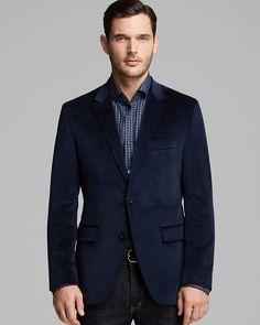 $495, Navy Velvet Blazer: Hugo Boss Boss Coastus Velvet Blazer. Sold by Bloomingdale's. Click for more info: https://lookastic.com/men/shop_items/9251/redirect