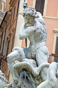 Detail of Poseidon Statue and fountain , Piazza Navona, Rome, Italy