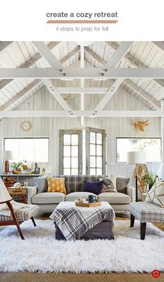 Turn your living room or den into a chic fall retreat with 4 easy updates…