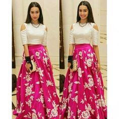 Shraddha Kapoor Pink Embroidery Satin Silk Party Wear Crop Top Lehenga With Dupatta Indian Wedding Outfits, Indian Outfits, Indian Attire, Indian Wear, Hot Pink Skirt, Pink Dress, Prom Dresses Two Piece, Applique Dress, Crop Tops