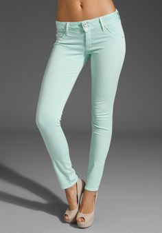 Hudson skinny jeans in mint green- with a pair of nude flats and a white tank or tee?