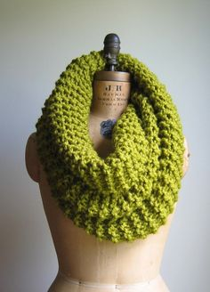 Super Snuggly chunky knit cowl Chartreuse Infinity by Happiknits, $79.00  Love, love, love....wish I could knit!
