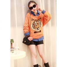 Loose Fitting Tiger Head Print Scoop Neck Long Sleeve Sweater for Women