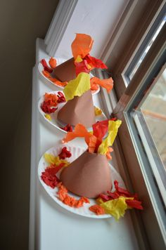 Volcano craft paper plate, brown construction paper, red, orange, yellow streamers