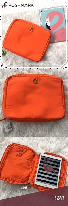 NWT C Wonder Orange IPad Air Case NWT C Wonder padded zip iPad travel case. Bright orange, gold zipper/hardware, slip pockets, stylus/pen holder and Velcro tab closure to secure items behind flap. High quality, functionality and stylish. C Wonder by J. Christopher Burch.. yes that Burch, everyone has an X. My iPad Air is pictured for size. So good for any tablet or book reader similar detentions. C Wonder Accessories Tablet Cases