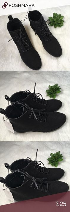 H&M Suede Black Healed Lace Up Booties Size 8 So cute! These booties by H&M look great with skinny jeans or dressed up!. They are brand new with tags. H&M Shoes Ankle Boots & Booties