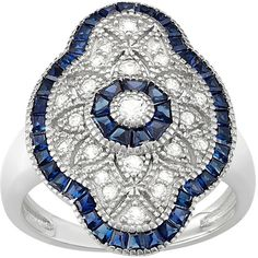 Sterling Silver Lab-Created White & Blue Sapphire Art Deco Ring