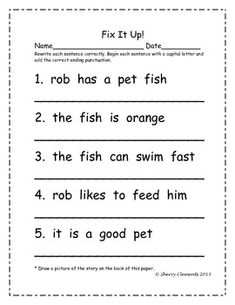 Fix it up sentences. Students write the sentences correctly using capital letters and punctuation correctly. 1st Grade Writing, Kindergarten Writing, Teaching Writing, Student Teaching, Writing Activities, Literacy, Phonics Activities, Math Games, Teaching Resources