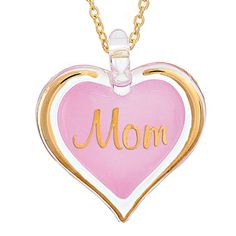 Glass Baron Pink Mom Heart Pendant With Chain #mom #mothersday #glassbaron #heart #necklace #pendant #jewelry