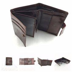 Men's Folded Vintage Leather Bifold Card Holder Short Wallet Purse US Shipping