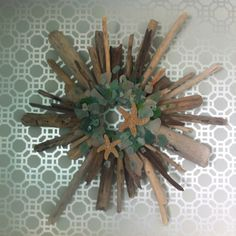wreath made from drift wood & sea glass found on Oahu's north shore