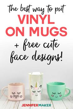 How to Put Vinyl on Mugs + Cute Designs & a Unicorn! – Jennifer Maker How to Put Vinyl on Mugs + Cute Designs & a Unicorn! – Jennifer Maker,DIY How to put vinyl. Inkscape Tutorials, Cricut Tutorials, Pot Mason Diy, Mason Jar Crafts, Free Svg, Cricut Craft Room, Cricut Vinyl Projects, Cricut Stencils, Ideas For Cricut Projects