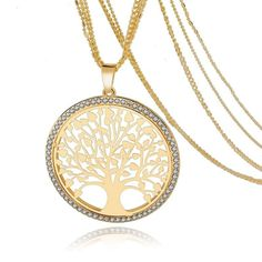 """Our newest """"Tree of Life"""" Pendant! Very beautiful Pendant that gives off the essence of life. Comes with 3 chains in Gold & Silver plating. ABSOLUTELY STUNNING necklace."""