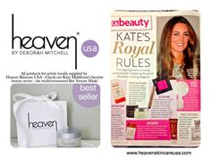Check out Heaven Skincare USA in the new October 2013 issue of US Weekly Magazine featuring Kate Middleton's favorite beauty products/royal rules! Bee Venom Mask available at www.heavenskincareusa.com