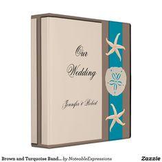 Brown and Turquoise Band Starfish Wedding Album Binder