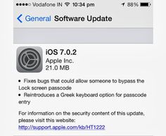 Apple rolls out iOS 7.0.2: Fixes passcode security flaws