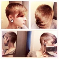 shaved pixie blended with long bangs. extreme, but it works..