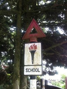Vintage school warning sign at Ings