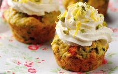 Savoury cupcake with cream cheese frosting- courgette and rocket