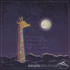 """The moon is a friend for the lonesome to talk to."" ~Carl Sandburg. Art by Jason Kotecki #art #painting #giraffes #moon #lonely #friendship #night"