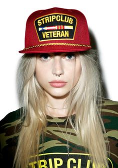 """Reason Strip Club Veteran Snapback cuz ya just luv them strippers. A certified expert in lap dances, this awesome hat is made from a red durable canvas material with embroidered """"strip club veteran"""" patch, gold rope trim and an adjustable back snap back closure."""