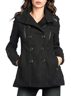 Affliction Amy Wool Pleated Peacoat L >>> Details can be found by clicking on the image.