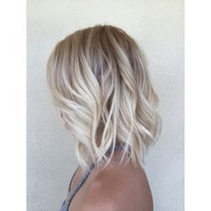 Hot Blonde LOB ❤ liked on Polyvore featuring hair, beauty, hair styles and hairstyles