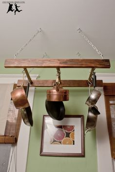 Antique Ladder Pot Rack – DIY #kitchen