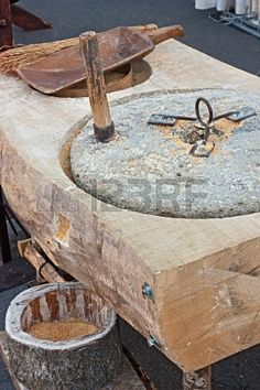 Picture of hand millstone, italian old tool for mincing cereals, grinder of wood and stone stock photo, images and stock photography. Hand Pictures, Jesus Pictures, Diy Wood Stove, Old Grist Mill, Cardboard Art, Old Tools, Machine Tools, Le Moulin, Mortar And Pestle