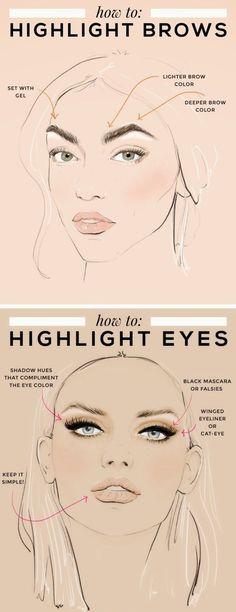 how to | makeup tutorial | makeup tips | highlighting | eye makeup | eyebrows