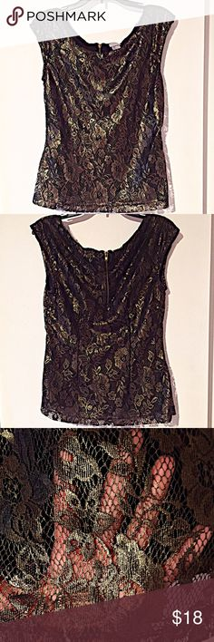 💥NWOT! Black Top With Gold Lace Overlay💥 NWOT! Black top with gold flower pattern lace overlay. Zipper back closure. Beautiful piece to add to any wardrobe! H&M Tops