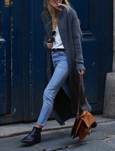 Maxi cardigan + skinny jeans