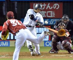 Yuuji Onizaki #56 takes Eagles starter Manabu Mima deep for his 2nd of the year, a solo jack down the right field line to tie the game at 1 in the bottom of the 3rd inning at Seibu Dome on September 26, 2013 in Tokorozawa, Saitama.