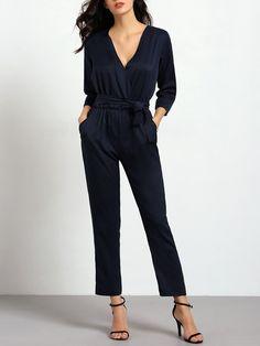 Royal Blue V Neck Pockets Jumpsuit -SheIn(Sheinside) Mobile Site