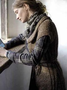 Designed by Marie Wallin, the last thing I need is to look more frumpy, in other… Tartan, Rowan Yarn, Forest Girl, Mode Boho, Mori Girl, Pulls, Country Girls, Lana, Autumn Winter Fashion