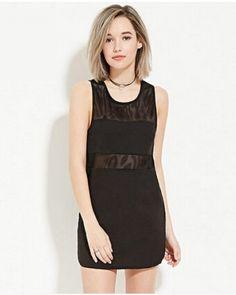 Splice mesh tank dress for women black long tank tops Long Tank Tops 9701de7e2149