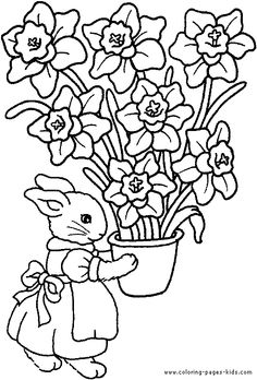 Easter color page, holiday coloring pages, color plate, coloring sheet,printable color picture Make your world more colorful with free printable coloring pages from italks. Our free coloring pages for adults and kids. Easter Coloring Sheets, Easter Bunny Colouring, Spring Coloring Pages, Flower Coloring Pages, Coloring Book Pages, Coloring Pages For Kids, Free Coloring, Easter Flowers, Easter Colors