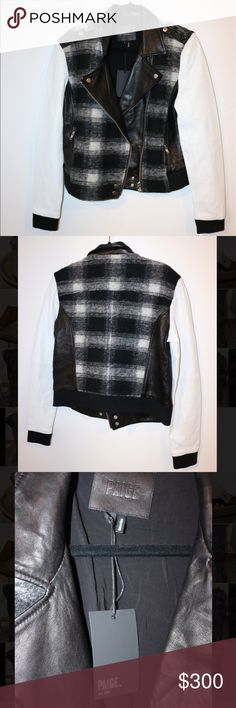 NWT Paige Jeans Black & White Leather Moto Jacket Perfect condition. 2 Smalls available (check other listing for availability). Never worn outside of the store. Please note photos were taken with a high resolution camera so things that may look like flaws are just lighting and resolution. I disclose all issues within the item description. Paige Jeans Jackets & Coats