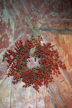 Wild Rosehip  Primitive Twig Wreath $26 Twig Wreath, Arches, Primitive, Wreaths, Fall, Etsy, Painting, Inspiration, Ideas