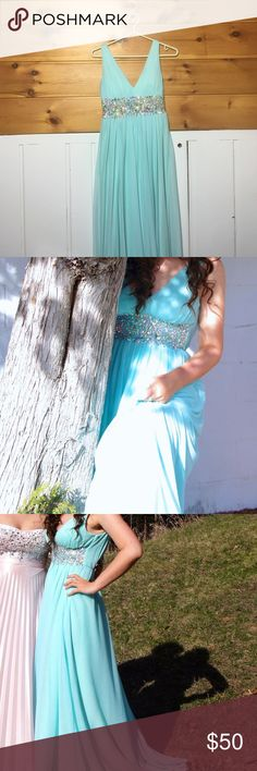 Sea Foam/Aquamarine Blue Sequin Prom Dress Great condition! Long and silky! A beautiful prom dress. My Michelle Dresses Prom