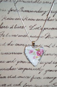 Recycled Broken China Handmade Porcelain Heart Rose Pendant, Necklace   #Handmade #Chain