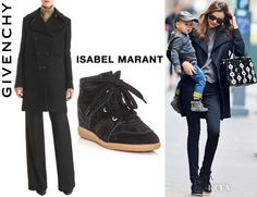 Miranda Kerr's Givenchy Double Breasted Coat And Isabel Marant Bobby Wedge Sneakers