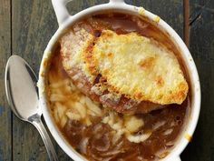 Nothing beats the winter months like a warming bowl of homemade chicken soup or beef stew. Check out dozens of winter soup and stew recipes from Food Network. Food Network Recipes, Cooking Recipes, Oven Recipes, Healthy Cooking, Classic French Onion Soup, Onion Soup Recipes, Mushroom Recipes, Chili Recipes, Meat Recipes