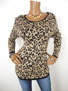 bf3b2befb39a6e CHICO S Sz 2 Womens Top M L Leopard Print Sweater Shirt Light Weight Long  Sleeve  Chicos. Casual TopsChico ...