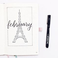 Bullet journal monthly cover page, February cover page, Eiffel Tower drawing. | @amizaomar