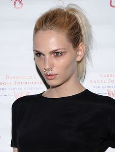 A sporty ponytail allowed the focus to land on Andreja Pejić's dewy skin and flashy nose ring.