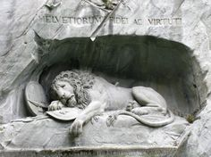 """The saddest rock in the world according to Mark Twain. The Lion Monument is a sculpture in Lucerne, Switzerland.  It was hewn in 1820-21 to commemorate the 1792 deaths of the Swiss Guards during the French Revolution, when revolutionaries stormed the Tuileries Palace in Paris.    In his 1880 book A Tramp Abroad, Mark Twain called the work """"the most mournful and moving piece of stone in the world."""""""