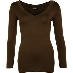 WearAll Sophia V Neck Long Sleeve Top ($14) ❤ liked on Polyvore featuring tops, brown, long sleeve tops, long sleeve v neck top, form fitting tops, vneck tops and brown tops